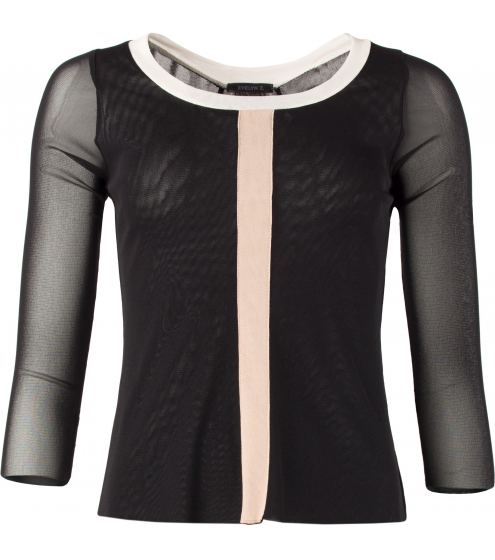 Shirt_A-Form/Mittelstreifen/v.kürzerHalsrand/3/4 Ärmel_EvelynZ