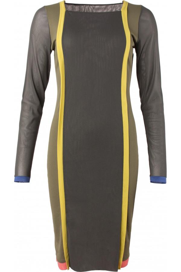 gerades Kleid m. Längs-und Saumblenden