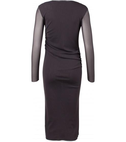 asym. Ausschnitt/seitl. gerafftes Kleid/langarm