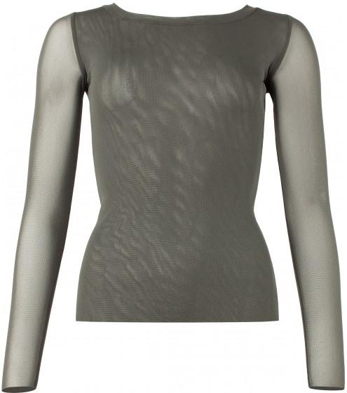 Shirt mit halsfernen Rundausschnitt