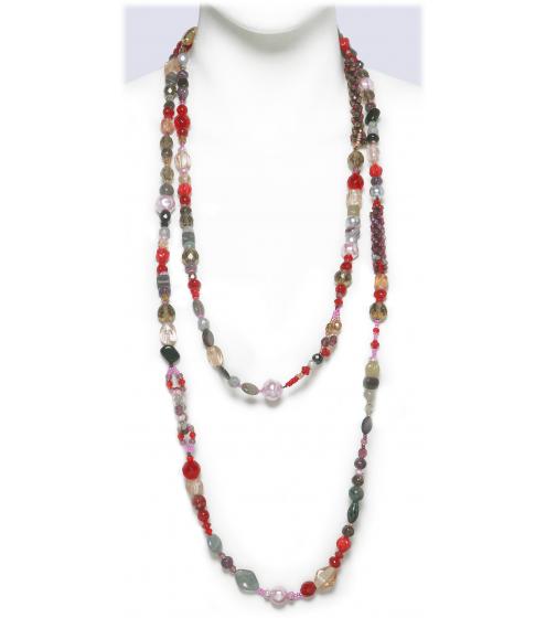 Dekorative, sehr lange Kette in rot-grau Tönen